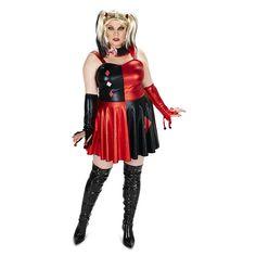 Plus Size Adult Plus Evil Harlequin Costume Dress & Wig Set, Women's, Size: 1XL, Multicolor