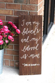 "Rustic Wooden Wedding Sign - ""My Beloved"" - Bible Verse Sign - Wedding Keepsake"