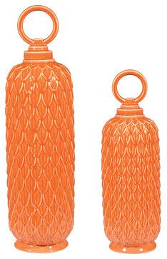 Sterling 152-003/S2 Set Of 2 Lidded Ceramic Jars In Tangerine Orange - traditional - Accessories And Decor - Eager House