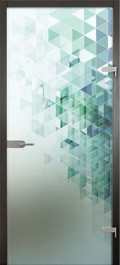 Acid etched glass printed with ceramic paints - Flur ideen - Door Design Glass Sticker Design, Glass Film Design, Frosted Glass Design, Frosted Glass Door, Glass Doors, Mirror Glass, Etched Glass Door, Acid Etched Glass, Window Design