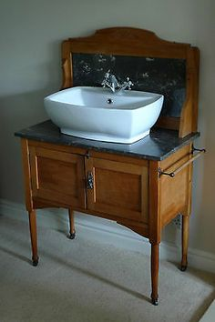WASHSTAND. ART NOUVEAU C1920, WITH MARBLE TOP & SPLASH BACK. A really nice piece | eBay Bathroom Furniture, Antique Furniture, Vessel Sink Bathroom, Marble Top, Master Bath, Really Cool Stuff, Art Nouveau, Bar, The Originals