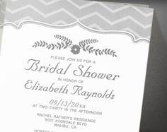 Black And White Zigzag Bridal Shower Invitation
