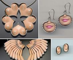 Very cool creepy altered Barbie jewellery