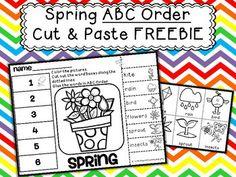 Spring ABC Order Cut and Paste Printable---FREEBIE - More than Math by Mo - TeachersPayTeachers.com