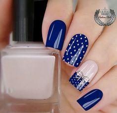 Navy Nail Art, Navy Nails, Pink Nails, Acrylic Nail Designs, Nail Art Designs, Acrylic Nails, Stylish Nails, Trendy Nails, Pretty Nail Art