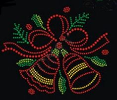 Christmas Xmas Bells 2 Rhinestone Iron on T Shirt Transfer -- Continue to the product at the image link.