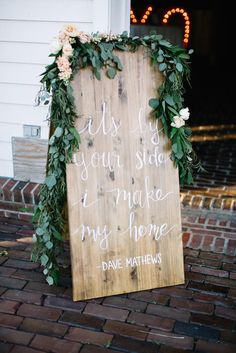 Wooden Sign With Song Lyric | Photo: Steven Michael Photography