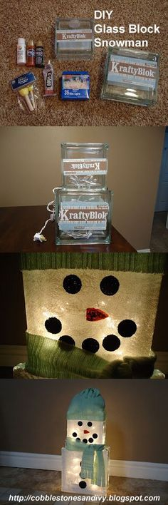 DIY—Glass Block Snowman--an easy and cute idea for all winter long