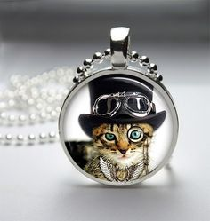 Steampunk Cat Bezel Pendant, sold for $5 this morning! Adorable.