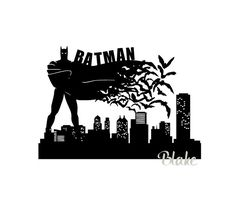 This svg digital download cut file includes: A batman (with bats) silhouette towering above the Gotham City Skyline This is an SVG, digital design cut file and PNG, and JPG for use with circut, silhouette cameo machines, or other cutting machines. You could also use the file to