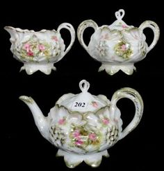 THREE PIECE RSP SUNFLOWER MOLD TEA SET $200