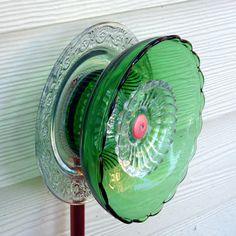 Garden art, glass flower, Mother's Day, yard art, fence wall decor, sun catcher, garden sculpture, plate flower, green
