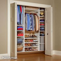 Need more closet space? You gain tons of storage space by stealing a few feet from a room and building a new closet, complete with double doors. Finally you