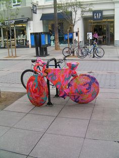 Yarn bombing - I don't actually ride mine, so maybe I could do this to it!