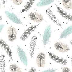 Watercolor Feathers in Mint Gray and Taupe by ByGeorgeBabyBoutique