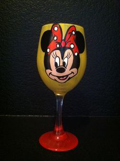 Hand Painted Minnie Mouse Wine Glass by LilleyLove on Etsy, $25.00