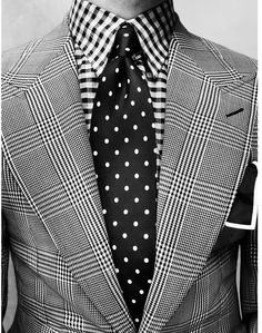 Wow! Checks, Checks and Polka dotted tie #MensFashion Incredible