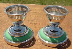 """Vintage Silver plate and Bakelite egg cups,  """"LEWBURY"""""""