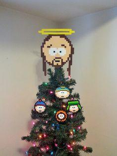 South Park Jesus Perler Bead Christmas Tree Topper by LighterCases, $55.00