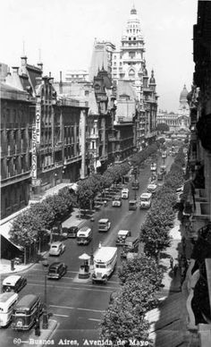 Very Vintage photo of Avenida de Mayo in Buenos Aires.