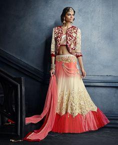 Buy Gorgeous Beige & Pink Lehenga Choli online at  https://www.a1designerwear.com/gorgeous-beige-pink-lehenga-choli  Price: $254.13 USD