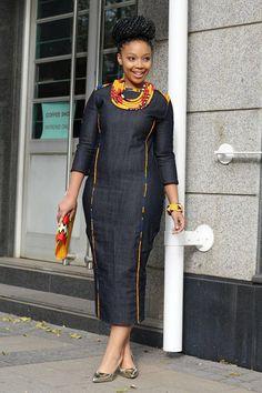 Denim African dress by EssieAfricanPrint on Etsy