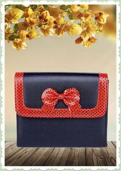 73650c9a1d564 Küstenluder 50er Jahre Retro Punkte Handtasche - Olinda - Schwarz Rot  Rockabilly Tasche schwarz rot mit