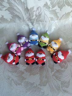Crocheted rainbow Santas