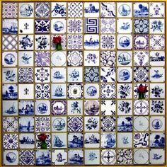 Turning Delft Blue tiles in to art I would love this in my kitchen. In my dream home