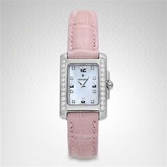 Concord Sportivo Women Concord Watches, Pearl Diamond, Square Watch, Pink Leather, Accent Colors, Pearls, Accessories, Colour Shades, Beads