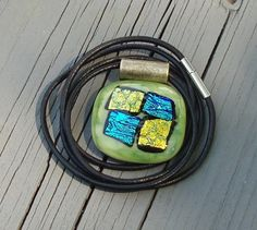 Green Gold and Blue Dichroic Fused Glass Pendant HCLTreasures - Jewelry on ArtFire, $15.00