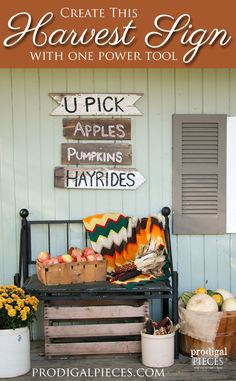 Want to create rustic decor for the fall season? You can create this DIY harvest sign with only one power tool and this tutorial by Prodigal Pieces Fall Projects, Weekend Projects, Diy Projects, Ideas Hogar, Fall Harvest, Harvest Time, Reclaimed Barn Wood, Fall Diy, Porch Decorating