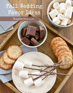 smores wedding favor kit ingredients  - Perfect Fall Wedding Favor Ideas. Thank your autumn wedding guests with these harvest season gifts. From treats to personalized items they will love.