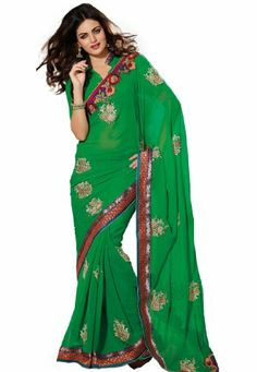 Pure green shaded with golden embroidery faux #georgette and #chiffon #designersaree