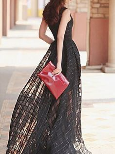 2017 new arrival summer fashion women dress elegant sleeveless black plaid long dress - MISS LADIES