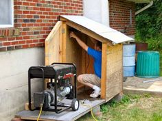Generator Enclosure Generator Shed How to Build a Shed If you have ever been camping or in a rural area where generators are common you know how disturbing the loud sound a generator makes can be. Some 'tough guys' think it's OK and almost thrive. Generator Shed, Portable Generator, Emergency Generator, Power Generator, Outdoor Projects, Home Projects, Building A Shed, Building Ideas, Building Design
