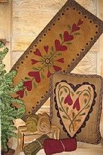 Blooming Hearts wool applique table runner and wool applique