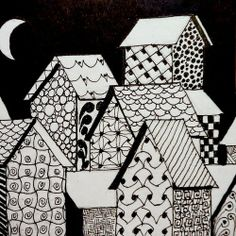 Barb's Daily Creations: Village Two Tangle Doodle, Zen Doodle, Doodle Art, Zentangle Drawings, Doodles Zentangles, Doodle Patterns, Zentangle Patterns, House Quilts, Pen Art