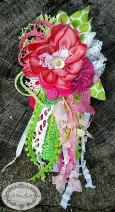 Your place to buy and sell all things handmade Fabric Flower Pins, Fabric Flower Brooch, Fiber Art Jewelry, Jewelry Art, Burlap Flowers, Paper Flowers, Funky Fashion, Fabulous Fabrics, Deco