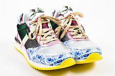 """Dolce & Gabbana NWOB Multicolor Floral Metallic Mesh """"Majolica"""" Sneakers SZ 37.5"""