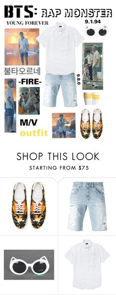 """""""BTS: RAP MONSTER """"Fire"""" M/V Outfit"""" by itzbrizo ❤ liked on Polyvore featuring Yves Saint Laurent, Dondup and J.Crew"""