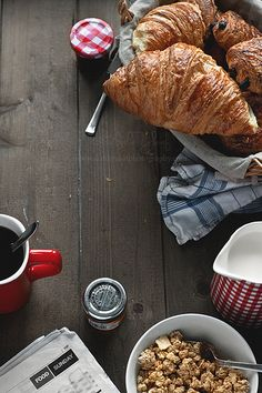 GOOD MORNING SUNSHINE<3 #breakfast #coffee #croissants <3
