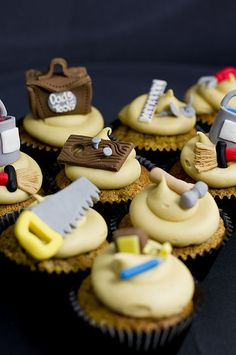 construction cupcakes, tools cupcakes, tool cupcakes, vanilla cupcakes, themed cupcakes, 2nd birthday, 70th birthday, boy birthday parties, themed parties