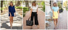 3 Spring Must-Haves, Styled 4 Ways - Living in Yellow Tie Waist Shorts, Navy Shorts, Living In Yellow, Scalloped Skirt, Shower Outfits, Wide Leg Cropped Pants, Dance The Night Away, Ankle Strap Heels, Summer Looks