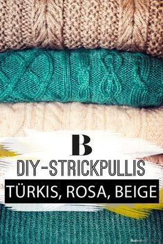 Pullover stricken. Ob Türkis, Rosa oder Beige. Wir haben alle Farben und Formen. Hier geht's zur Strickanleitung und weiteren Strickmustern. Um diese Strickjacken und Pullis zu stricken, braucht ihr nur ein bisschen Zeit, die richtige Nadelstärke und Lust Diy Pullover, Women Life, Knitwear, Knit Crochet, Beige, Sewing, Knitting, Inspiration, Pink