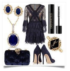 """classy outfit"" by fashionqueen886 ❤ liked on Polyvore featuring self-portrait, Benedetta Bruzziches, Gianvito Rossi, Allurez, Lancôme and Yves Saint Laurent"