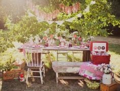 Love this styled vintage picnic photographed by Simply Rosie Photography. Love the idea of using it as inspiration for a wedding or party! Lots of DIY projects! I especially love the chipped vintage furniture.