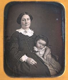 Sixth plate daguerreotype of mother and daughter. With applied red color to skin areas. Housed in a full leather Eickmeyer-style case. Christopher Wahren Fine Photographs. | eBay!