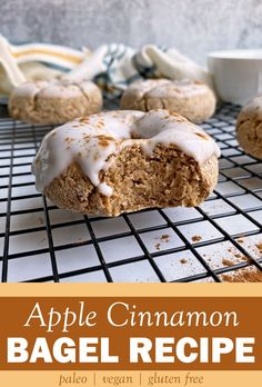This easy Apple Cinnamon Bagel Recipe requires only a few simple ingredients and can be made within half an hour. These fall flavored bagels have a sweet, sugar free glaze on top that is optional, but really takes these cinnamon bagels to the next level. These homemade bagels are paleo, vegan, gluten free, and even nut free. Perfect for a healthy breakfast or snack! #fallrecipes #bagelrecipe #applecinnamon Apple Bagel Recipe, Cinnamon Bagels, Cinnamon Apples, Ground Cinnamon, Healthy Vegan Desserts, Paleo Vegan, Vegan Dessert Recipes, Free Breakfast