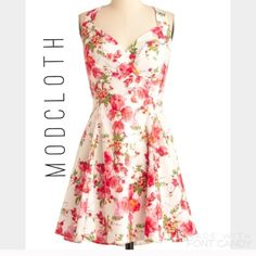 """Host Pick 8/14!! Floral Modcloth Dress Lovely a-line white floral Modcloth dress. 97% cotton, 3% spandex. Size Medium. Length 35.5"""". Fabric has some stretch. Dry clean only. Lined through bust with hidden back zipper. Very small stain on front- see image. Adjustable straps by different hidden buttons. ModCloth Dresses"""